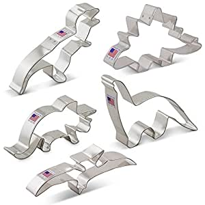 Dinosaur Cookie Cutter Set - 5 Piece - Triceratops, Stegosaurus, T-Rex, Brontosaurus and Pterodactyl - Ann Clark - US Tin Plated Steel