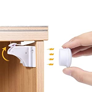 Magnetic Cabinet Locks for Child Safety - Cupboard Locks Baby Proof - Adhesive Baby Proofing Cabinets & Drawers Latches No Drilling - Baby Locks for Baby Safety (12 Locks+2 Keys)