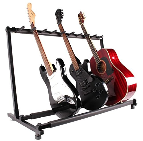 New Black Guitar Folding Rack 9 Guitar Holder Stand Electric Bass Acoustic Stage Band Multiple Display Foldable Padded Organizer Musician Portable
