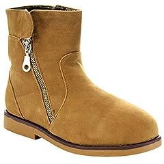 MARCY-26 Women's Casual Side Zipper Flat Snow Ankle Bootie