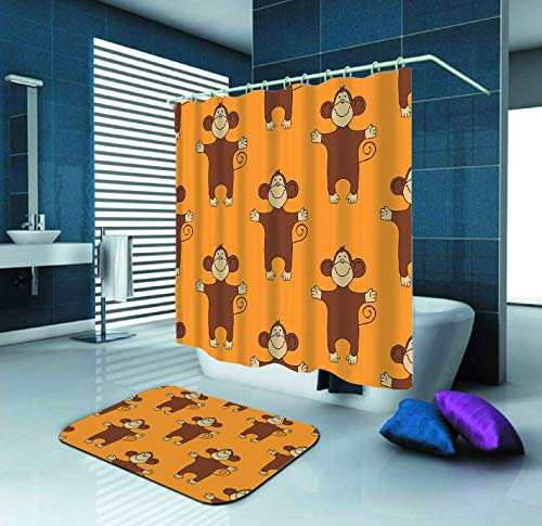 Monkeys Cute Animal Shower Curtain and Waterproof Polyester Fabric Shower Curtain with 12 Hooks and 84
