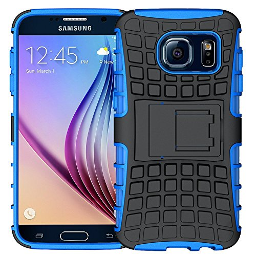 Samsung Galaxy S6 Case,K-Xiang (Armor Series) Heavy Duty Dual Layer Shockproof Silicone Phone Protective Case TPU Hybrid kickstand Cover for Samsung Galaxy S6 (Blue)