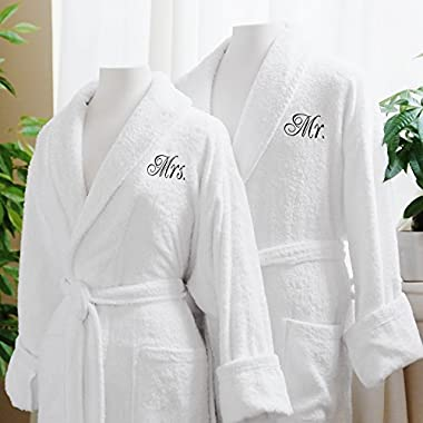 Luxor Linens Luxury Bath Robe - Egyptian Cotton Terry Cloth Robes with Couple's Embroidery - Perfect Wedding Gifts (Mr./Mrs.)