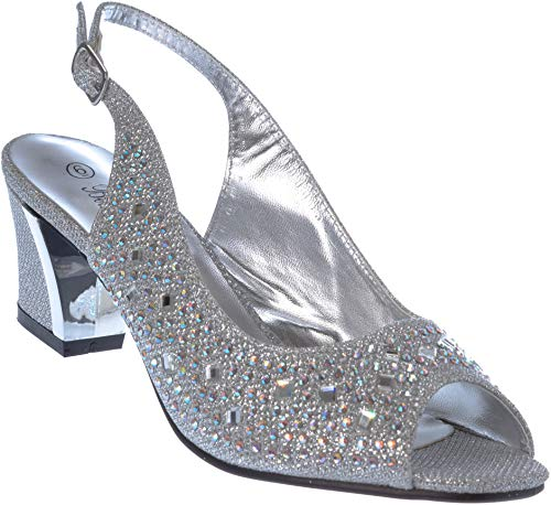lime01 Women Evening Sandal Rhinestone Silver Dress-Shoes Size 9 ()