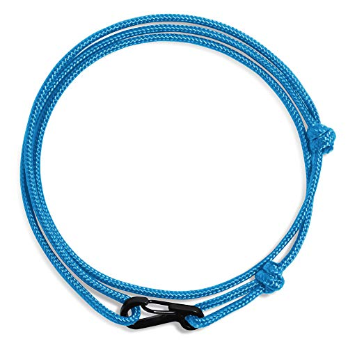 WUE Mens Bracelet Handmade with Paracord Rope and Steel Carabiner Adjutable Knots - Made in USA (Bright Colonial Blue)