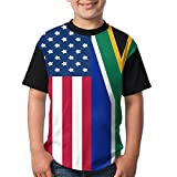 Youbah-01 Adolescent South Africa and American Flag T Shirts, Boys Short Sleeve Tee