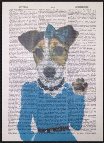(Parksmoonprints Jack Russell Girl Print Vintage Dictionary Page Wall Art Picture Blue Dress Dog)