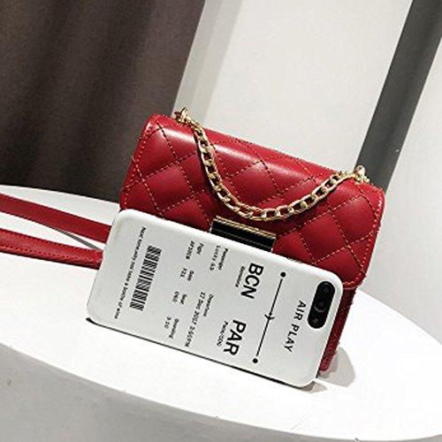Rhombic Red Bag De Chic Salvaje Super Pack Bolso Femenino Chain 2018 Cuero Messenger Onda Personalidad Nueva Fire pfxaP4w