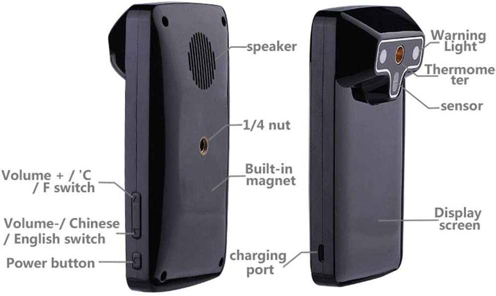 JW Rilevatore di Temperatura a infrarossi Montato a Parete Misuratore di Temperatura Digitale Senza Contatto Scanner Automatico con Funzione di Allarme Febbre e Display LCD a Lettura immediata