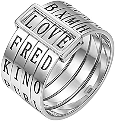 Sweheart Love Rings Titanium Wide Band Engraved Spinner Ring Gifts