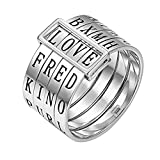 Sweheart Love Rings Titanium Wide Band Engraved Spinner Ring Gifts for Parents Children Couples Friendship