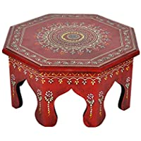Wooden End Table Red Color For Christmas Decorations 12 X 12 X 6 Inches