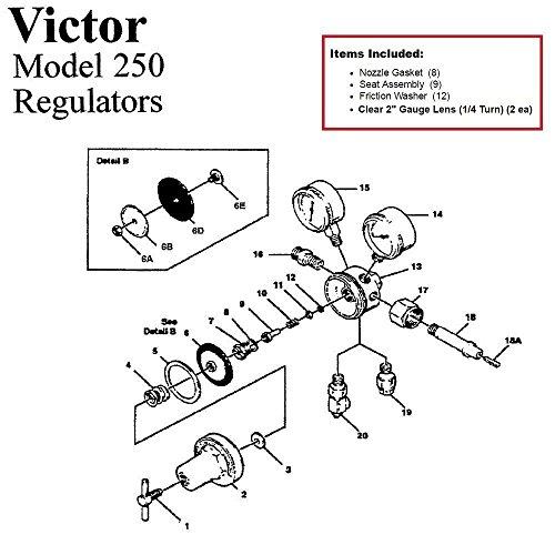Kit Repair Fuel Regulator - Victor 250-80-540 Oxygen Regulator Rebuild/Repair Parts Kit