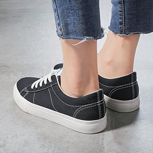 Baskets étudiants Plat Blanches Occasionnels Chaussures Espadrilles à Toile Black de Filles Femme Chaussures Chaussures Koyi Fond H6qxwgpRR
