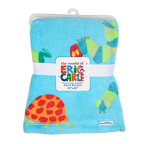 Eric Carle Baby Plush Printed Blanket, Large Baby Blanket, Toddler Crib, Stroller, and Carrying Cover, The Very Hungry Caterpillar, 30 By 40 Inches, Neutral Boys  (Plush Bear Blanket Boys Angel)