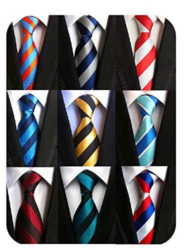 Welen Lot 9 PCS Classic Men's Tie Necktie Woven JACQUARD Neck Ties, Asst. Colors, One Size (Style 02)