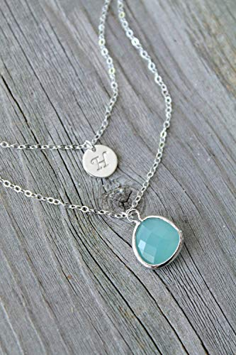 (Sterling silver Layered Initial Necklace, crystal clear, aquamarine, sea-foam green, cracked mint, personalized Double chain,multi)