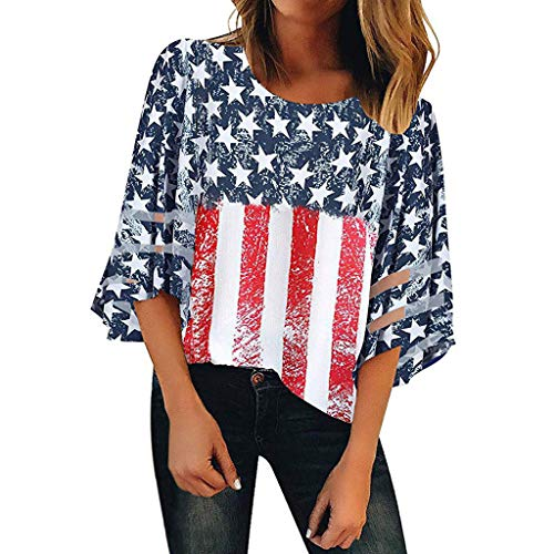 Toponly Women's Independence Day American Flag Print 3/4 Bell Sleeves Button Off Shoulder Shirt Mesh Panel Blouse V Neck Casual Loose Tops ()