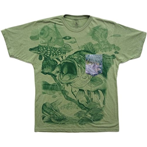 Dustin clothing series Large Mouth Bass Time Fish Fishing Soft T-Shirt Tee Printed Pocket Green