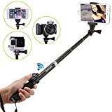 Maryger 4-in-1 Portable Bluetooth Selfie Stick for iPhone, Android Mobile,Digital Camera and Waterproof Action Camera,Black