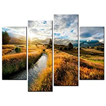 SmartWallArt - Natural Landscape Paintings Wall Art Golden Field Clear Stream Rising Sun 4 Panel Picture Print on Canvas for Modern Home Decoration