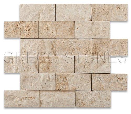 Ivory Travertine 2 X 4 Split-Faced Brick Mosaic Tile - 6