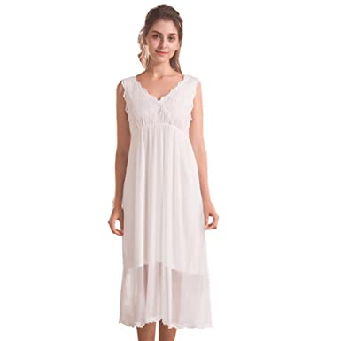 Flaydigo Women White NightdressLadies Long Cotton Victorian Sleeveless  Nightgown(Size S) f263f4379