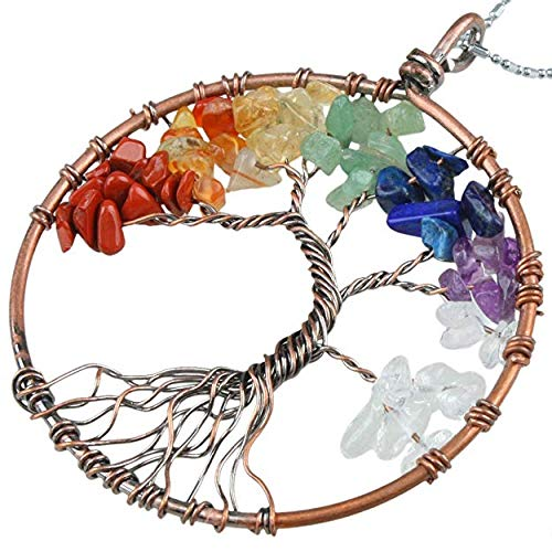 AQwzh.. NIUTA Chakra Gemstone Tree of Life Natural Tumbled Gemstone Wire Wrapped Pendant Necklace