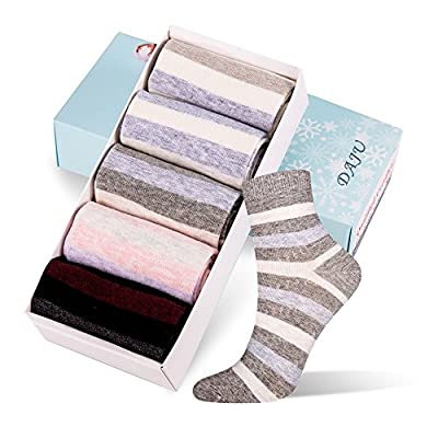 DAJU 5 Pairs Women's Crew Socks Colorful Cotton Casual Socks(within Gift BOX)