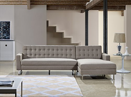 US Pride Furniture Dorris Light Brown Fabric Contemporary Facing-Right Chaise Sectional Sofa set