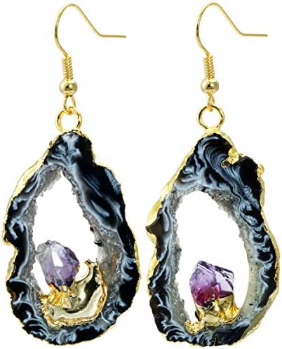 SUNYIK Natural Crystal Quartz Slice Geode Druzy Dangle Earrings,Gold Plated