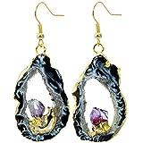 SUNYIK Natural Agate Geode Slice Quartz Druzy Dangle Earrings,with Amethyst Crystal,Gold Plated Drop Earring
