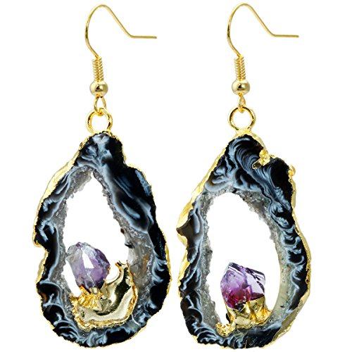 Geode Slice Quartz Druzy Dangle Earrings,with Amethyst Crystal,Gold Plated Drop Earring (Amethyst Crystal Dangle)