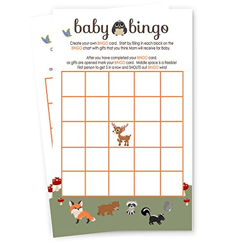 Baby Shower Game Pack (Woodland Baby Shower Bingo Game Card Fill-In Paper Pack of 25)