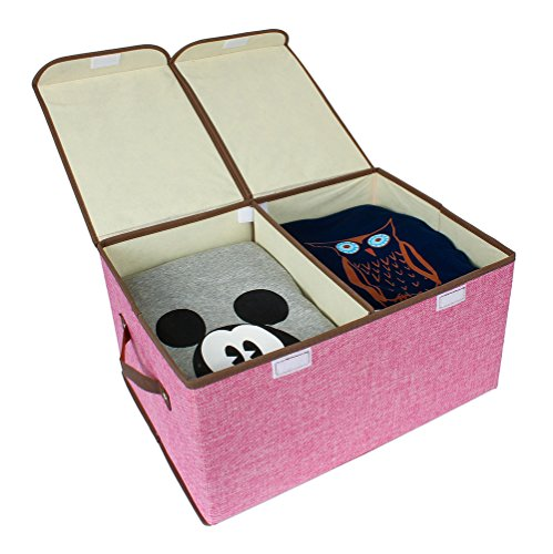 Superior Kenather Collapsible Clothing Storage Box Closet Organizer With Cover  Fabric Dust Proof Divided 2 Compartments Rose