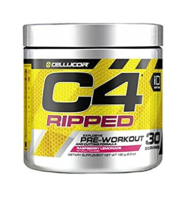 Cellucor C4 Ripped Pre Workout Powder + Thermogenic Fat Burner, Fat Burners for Men & Women, Weight Loss & Energy, Raspberry Lemonade, 30 Servings