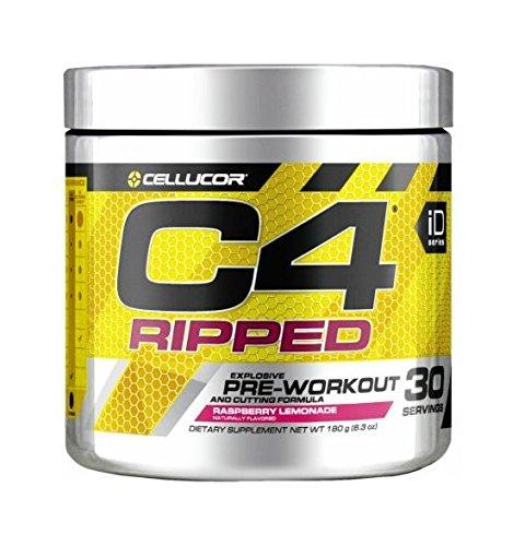 Cellucor C4 Ripped Pre Workout Powder Energy Drink + Fat Burner, Fat Burners for Men & Women, Weight Loss, Raspberry Lemonade, 30 Servings