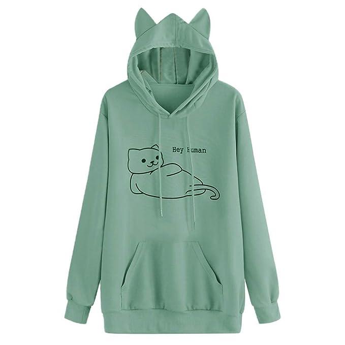 Amazon.com: Sudadera con capucha para mujer, diseño de gato ...