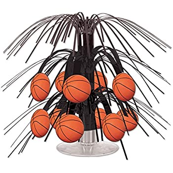 Beistle Basketball Mini Cascade Centerpiece, 7 1/2-Inch, Black/Brown