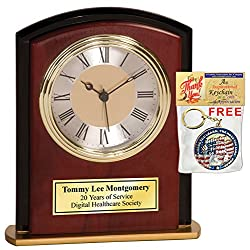 AllGiftFrames Engraved Retirement Employee Service Award Clock Cathedral Mahogany Black Border Clock with Gold Engraving Plate Anniversary Wedding Coworker Colleague Boss Desk Clock