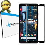 Pixel 2 XL Screen Protector [Full Adhesive] AUNEOS Edge Curved Tempered Glass for Google Pixel 2XL [Front Cam Hole Opened] Anti-Glare Shatter Proof Silk Glass Protector for 2XL (Black)
