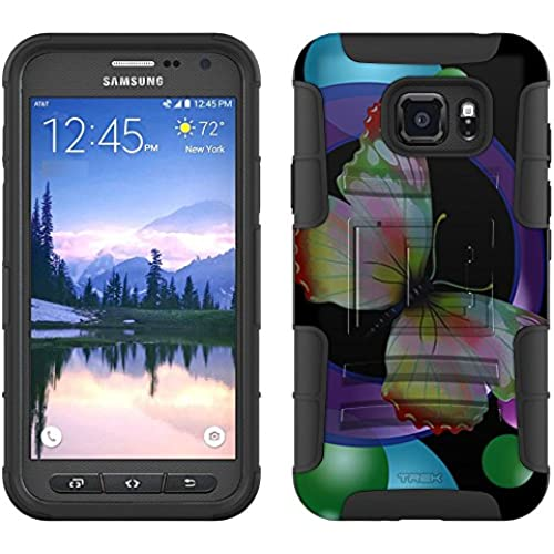 Samsung Galaxy S7 Active Armor Hybrid Case Circle Butterfly on Black 2 Piece Case with Holster for Samsung Galaxy Sales
