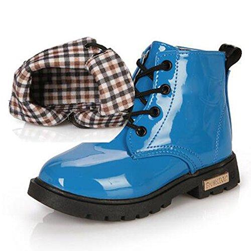 hibote Los Niños Hasta Los Zapatos Alta Zapatillas Deporte Otoño Niños Invierno Zapatos Linda PU Cordón Cuero A-Azul