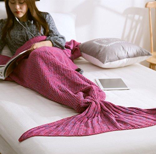 [MZPRIDE Mermaid Blanket Pattern Mermaid Crochet Blanket 31''71'' (Rose Red)] (Mermaid Fairy Costumes)