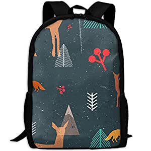 LKZD Christmas Woodland Unisex Fashion Backpack Business Travel Sports Bag