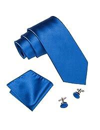 Barry.Wang Royal Blue Ties for Men Silk Hanky Cufflinks Tie Set Solid Color