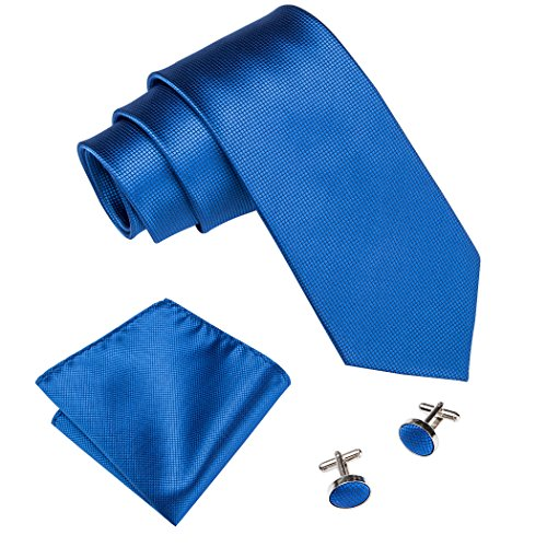 Barry.Wang Royal Blue Ties for Men Silk Hanky Cufflinks Tie Set Solid Color,Blue,One Size ()