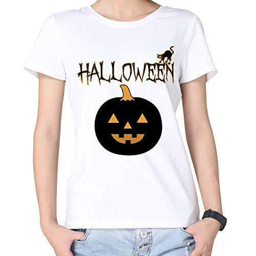 100% Cotton Woman's Halloween Pumpkin Tshirts White (Halloween Cutouts For Pumpkin Carving)