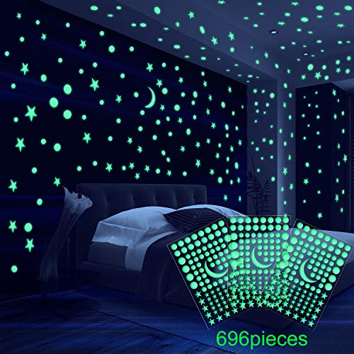 Zhehao 6 Sheet 3D Domed Stars Luminous Wall Stickers, Adhesive Dots Star and Moon for Starry Sky, Suitable for Kids Bedding Room or Birthday Gift (696 Pieces)