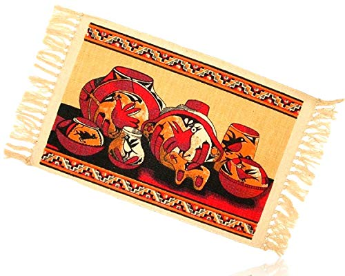 Southwestern American Pottery Native (Tan, Orange, Burgundy Rectangle Aztec Native American Southwestern Indian Art Bird Avian Pottery Vases Fringed Blanket Table Placemats Made of 100% cotton [Set of 6] + Certificate)
